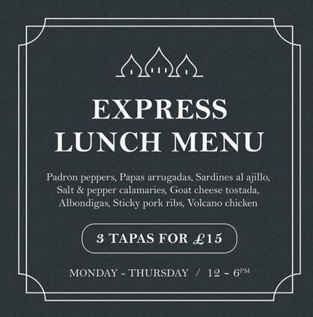 Express tapas menu